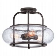 Trilogy 3 Light Medium Semi-Flush in Old Bronze with a Clear Seedy Glass Shade - QUOIZEL QZ/TRILOGY/SF/M